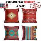 4 PACK Throw Pillow Covers South Southwest Western Tribal Red Native 18 x 18 in