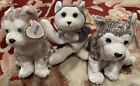 3 Ty Beanie Baby - JUNEAU the Husky Dog, MUK LUK MINT with MINT TAGS Plus Nanook
