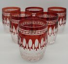 6 Ajka Hungary Clarendon Cut To Clear Crystal Ruby Red Whiskey Tumblers
