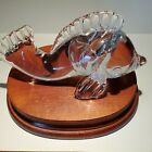 Vintage Steuben Glass Signed Swimming Dolphin Figurine Paperweight Sculpture