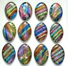 Lot of 12 pcs OVAL DICHROIC FUSED GLASS pendant F4 CABOCHONS HANDMADE
