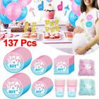 Gender Reveal Party Supplies Tableware Kid Latex Balloons Baby Shower Confetti