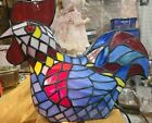 Stained Glass ROOSTER Lamp Night Light 10 tall mostly blues and reds