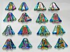 small FUNKY set 16 pcs DICHROIC FUSED GLASS pendant Q17 CABOCHON WIRE WRAPPING
