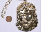 LARGE Sterling Silver Jesus Head pendant with CZs includes sturdy 30 Chain
