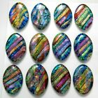 Lot of 12 pcs OVAL DICHROIC FUSED GLASS pendant Y1 CABOCHONS HANDMADE