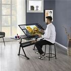 Adjustable Glass Drafting Table Art Writing Draw Desk for Artists w Storage