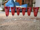 6 CRANBERRY BOHEMIAN CZECH ART GLASS ETCHED CONE CORDIAL GLASSES CUT TO CLEAR