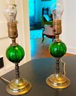Brass and Green Glass Art Deco Hollywood Regency Lamps