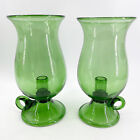 Pair of Hand Blown Glass Hurricane Candle Holders Emerald Green Rough Pontil 10