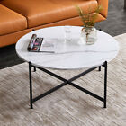 Modern Round Marble Top Coffee Table with Metal X Base 36 Inch Marble and Black