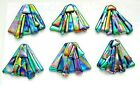 FUNKY set 6 pcs DICHROIC FUSED GLASS S20 CABOCHON for WIRE WRAPPING PENDANTS