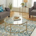 Round Coffee tea Table Glass Gold Finish Modern Living room Furniture Gold New