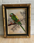 Fabulous vintage reverse glass painting of parrot in gold bamboo frame