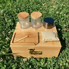 Bamboo Stash Box Combo with Accessories Herb Grinder Rolling Tray Glass Jar