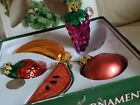 Vintage Old World 1993 Glass Fruits Christmas Ornaments Hand painted set of 5