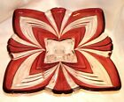 Stunning Raised Pedestal RED  CLEAR Fifth Avenue China Large Glass Platter EUC