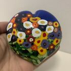 DICHROIC Lovely SIGNED Floral MAD ART GLASS Paperweight HEART
