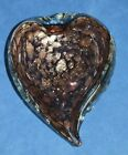 Large Vintage Heart Shape Quilted Deep Purple Gold Murano Glass Bowl 312 Lbs