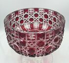 Bohemian Cranberry Cut to Clear Crystal Bowl 7