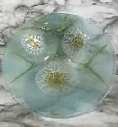 Mid Century Modern Signed HIGGINS Art Glass Turquoise Green Gold 8 Sea BOWL