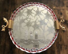 Vintage Etched Murano Glass Mirrored Tray by Ercole Barovier 1940s Rare