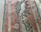 Antique Vintage French Silky Satin Lisere Brocade Fabric Apricot Green