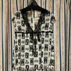 Hysteric Glamour Skull Stamp Girl Pattern Mesh Lace Blouse Shirt French I6470