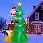 6 FT Inflatable Lighted Christmas Tree w Cute Santa Claus And Dog Outdoor Decor