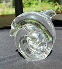 SIGNED STEUBEN CRYSTAL DOLPHIN HAND COOLER PAPER WEIGHT