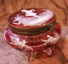 Antique MARY GREGORY Cranberry Glass Hand Painted FOOTED Jewelry Trinket Box
