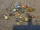 Vintage hand made swirl glass Marbles 33 of various sizes styles