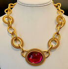 MONET Textured Matte Gold Plated Large Red Pink Cabochon Statement Necklace 18