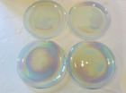ARTISTIC ACCENTS PEARL WHITE OPAL IRIDESCENT GLASS DINNER PLATES Set of 4