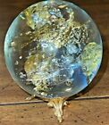 Large 3 Art Glass Contemporary Marble Clear Glass Gold  Silver Flakes Signed