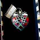 MACKENZIE CHILDS PLAID HEART WITH JEWELS AND COURTLY CHECK BOWSECENIC GIFT BOX