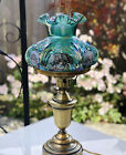 Fenton Green Carnival glass Embossed Lamp Hand painted cats  signed P Hayhurst