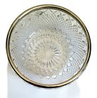 Vintage Cut Glass Crystal Serving Bowl With Silver plated Rim