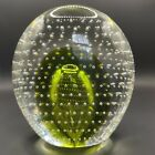 Art Glass Paperweight Green Glass with Bubbles