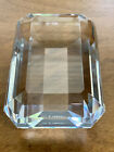 TIFFANY  CO EMERALD CUT CLEAR CRYSTAL ART GLASS PAPERWEIGHT SIGNED