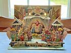 VTG 1960s Paper Cardboard Pop Up Nativity Scene with Stained Glass Details