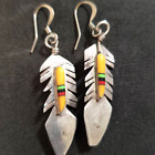 Vintage Native American inlaid 925 Feather earrings dangles