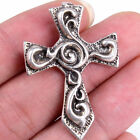 Solid Tibetan 925 Sterling Silver Fashion Carved Holy Cross Charm Pendant M1380