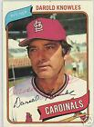 DAROLD KNOWLES 1980 TOPPS AUTOGRAPHED ST LOUIS CARDINALS BASEBALL CARD PSA DNA